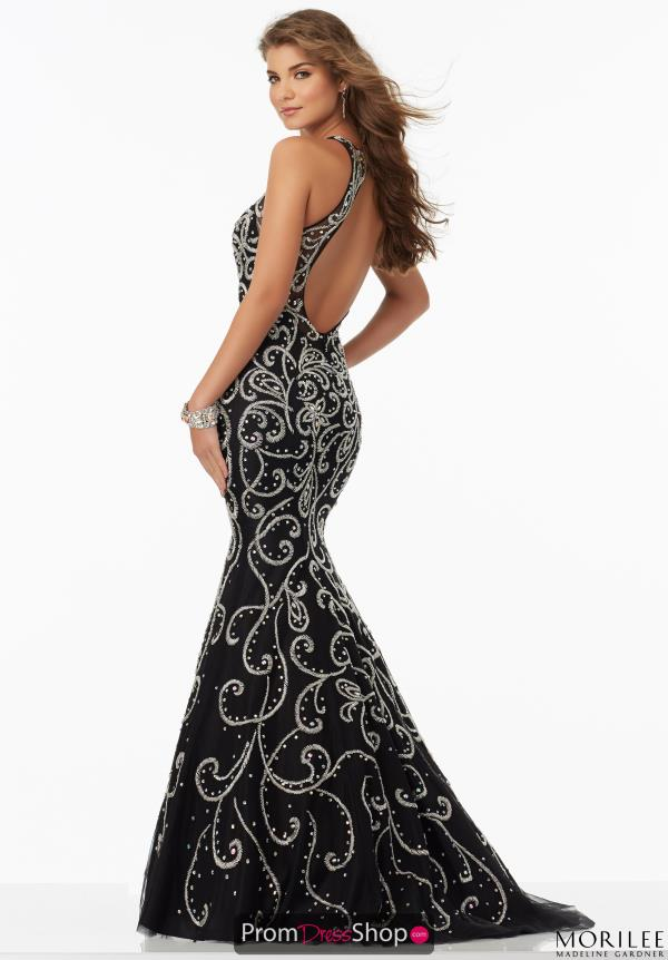Mori Lee Open Back Fitted Dress 99157