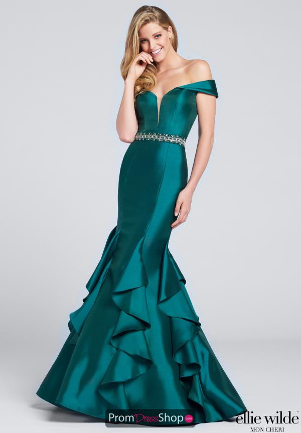 Ellie Wilde Long Green Mermaid Dress EW117034