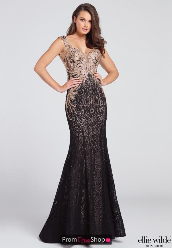 Strapless Beaded Ellie Wilde Dress EW117109
