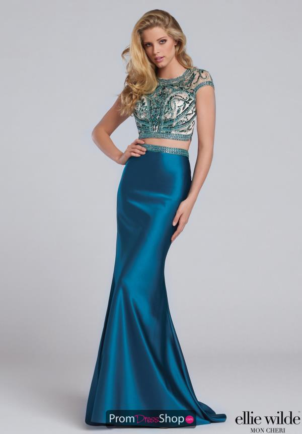 Ellie Wilde Fitted Green Dress EW117133