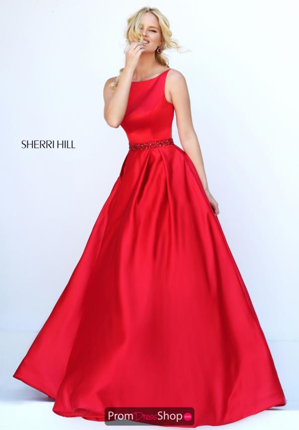 High Neckline Satin Sherri Hill Dress 50502