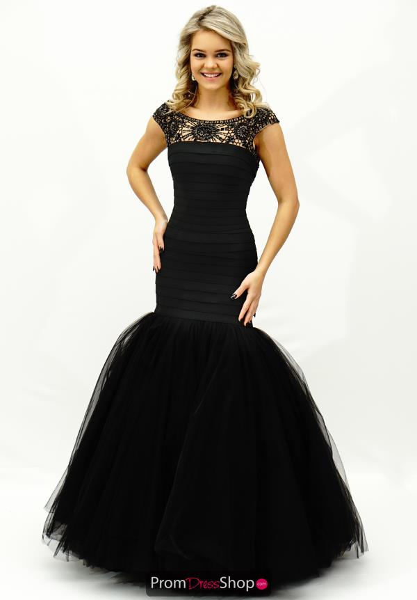 Sherri Hill Beaded Cap Sleeved Dress 50014