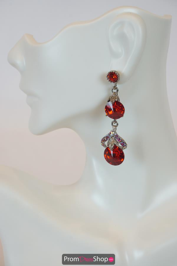 Small Drop Red Earrings Style CE691