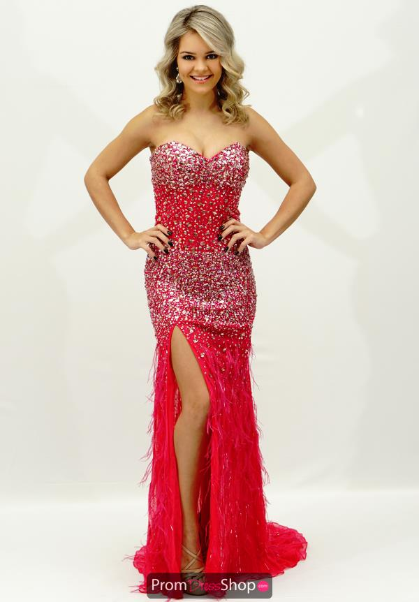 Jasz Couture Feather Skirt Prom Dress 4826