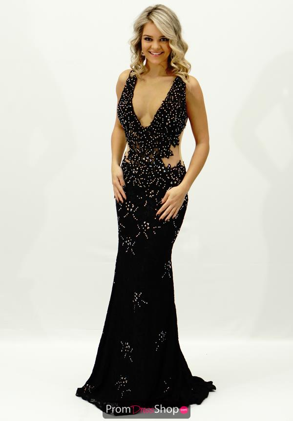 Jovani Sheer Lace Back Dress 93141