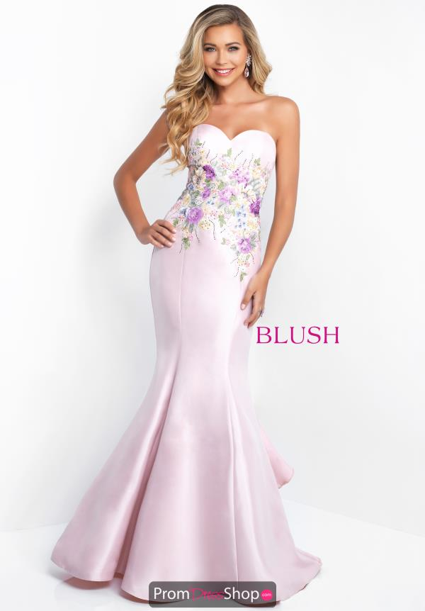 Blush Fitted Long Dress 11505