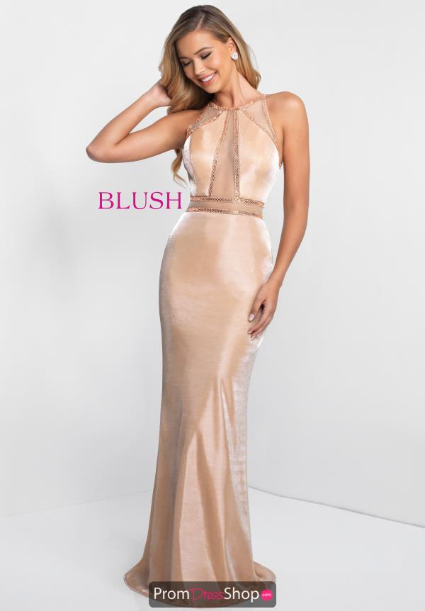 Blush High Neckline Fitted Dress 11548