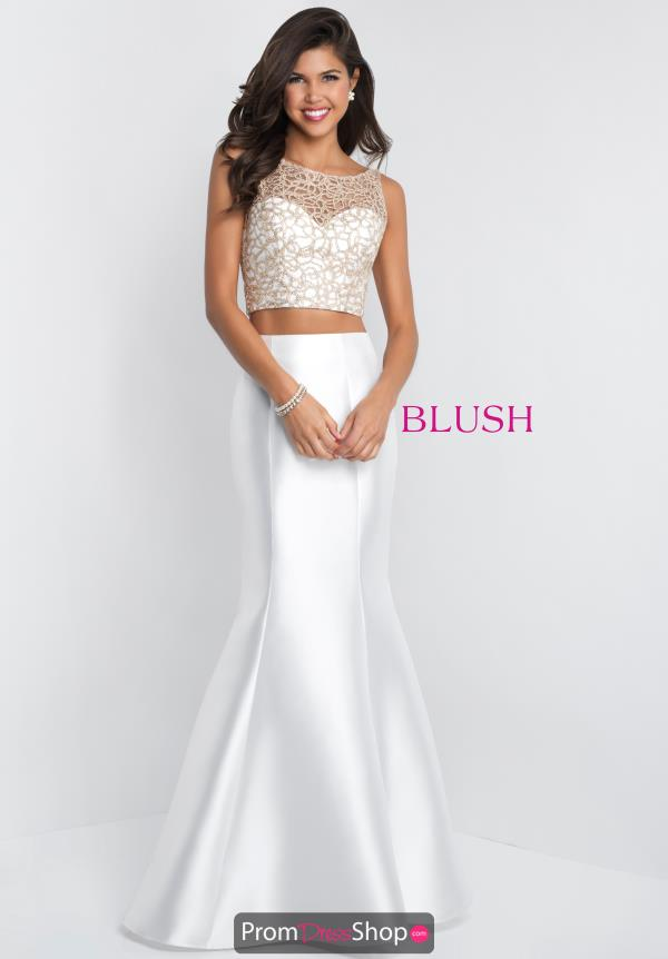 Blush High Neckline Beaded Dress 11550