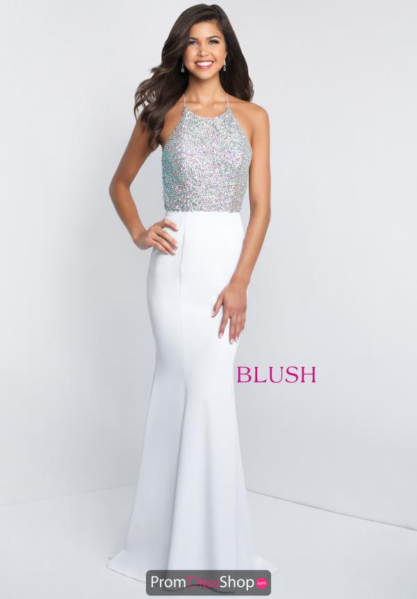 Blush Halter Top Beaded Dress C1030