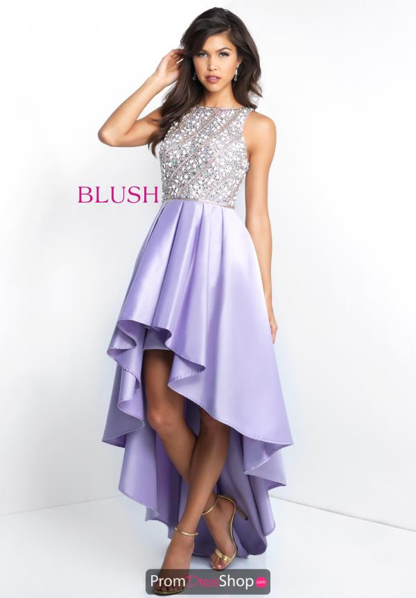 Blush Beaded High Low Dress C1037