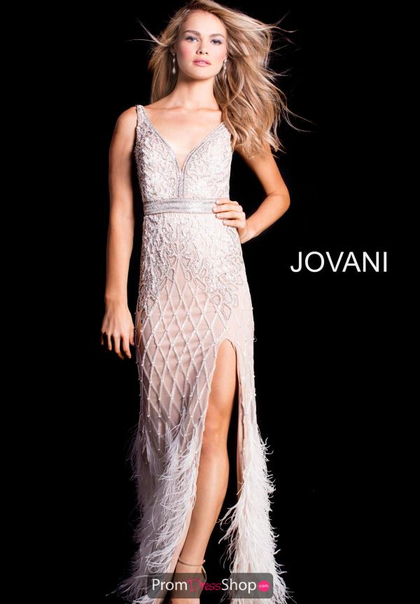 Jovani V-Neck Beaded Dress 55796