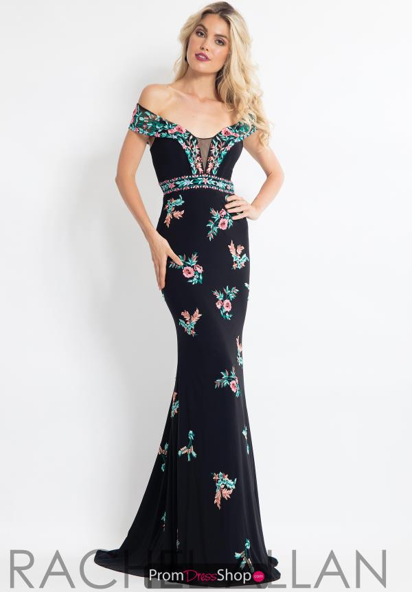 Rachel Allan Embroidered Off the Shoulder Dress 6056