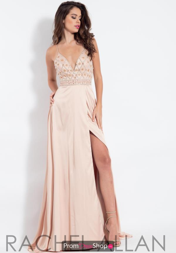 Rachel Allan Beaded V-Neck Dress 6088