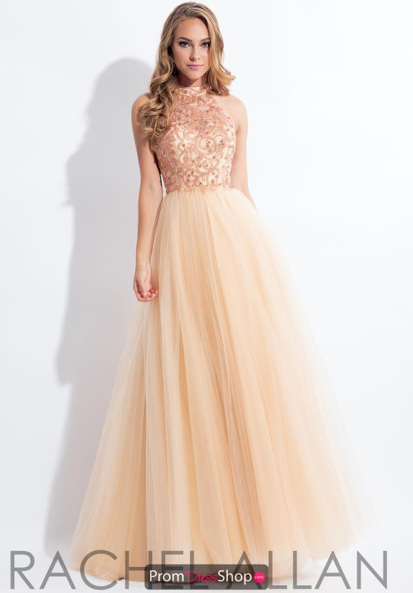 Rachel Allan High Neckline Tulle Dress 6178