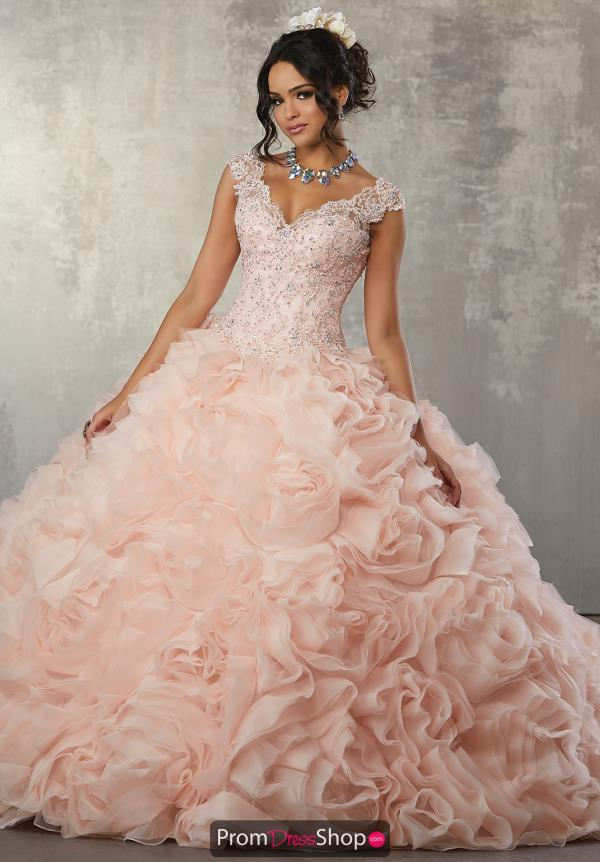 Vizcaya Quinceanera Beaded Cap Sleeved Dress 89165