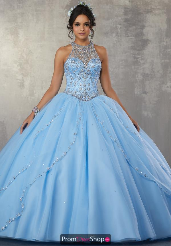 Vizcaya Quinceanera Sequined High Neckline Ball Gown 89170