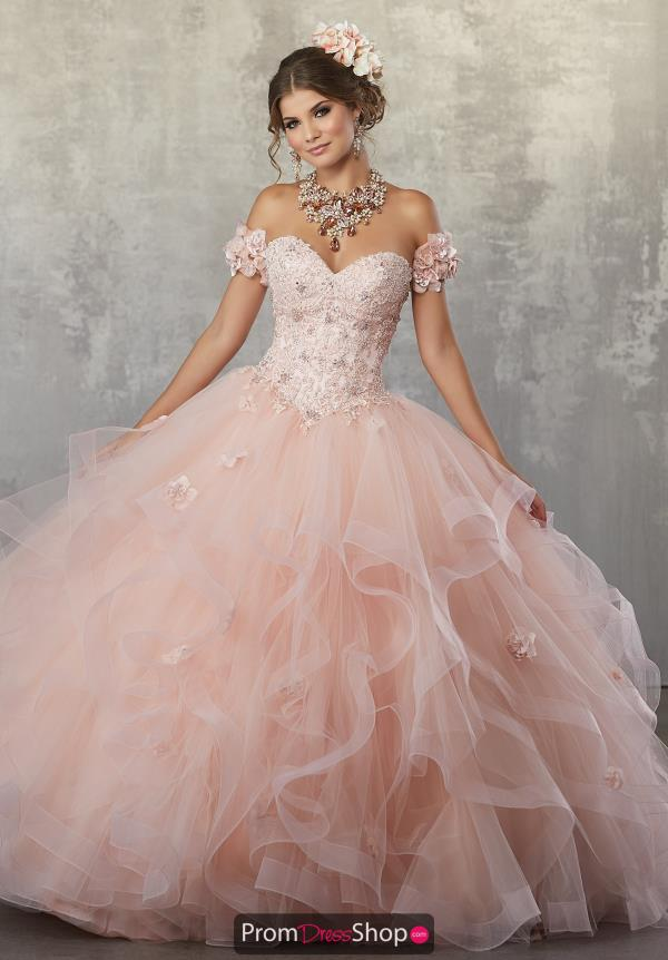 Vizcaya Quinceanera Lace Cap Sleeved Dress 89174