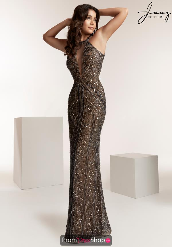 Jasz Couture High Neckline Beaded Dress 1429