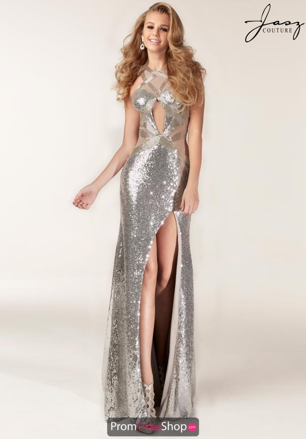 Jasz Couture High Neckline Fitted Dress 6199