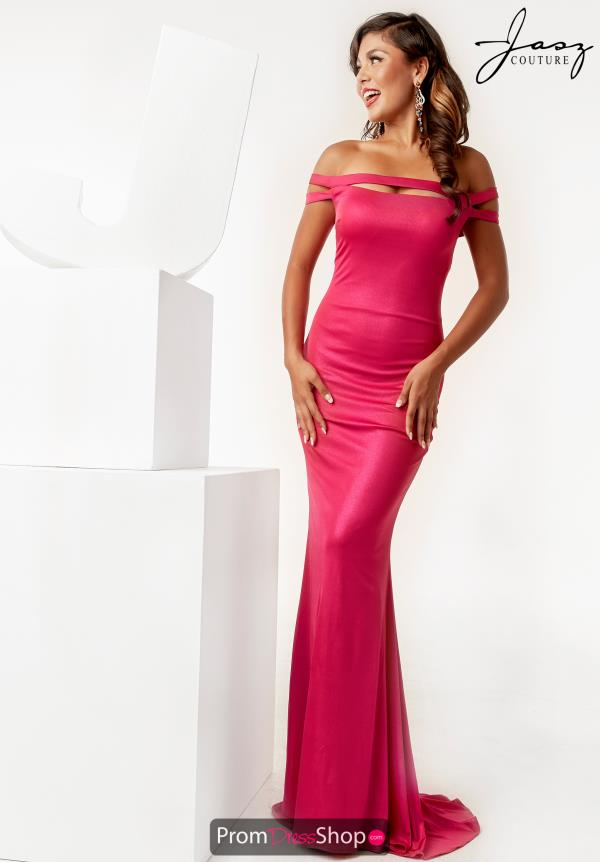 Jasz Couture Off the Shoulder Fitted Dress 6272