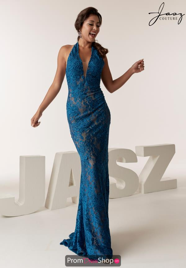 Jasz Couture Halter Fitted Dress 6285