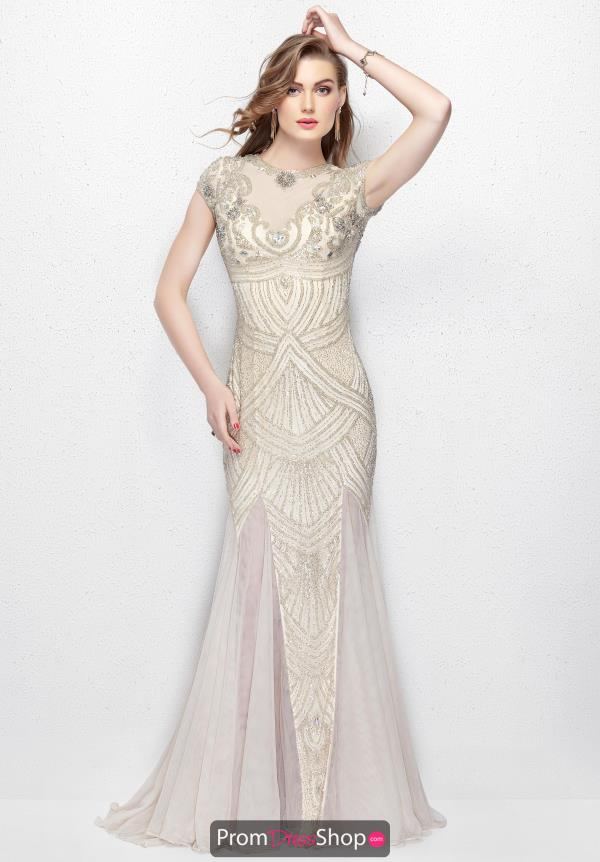 Primavera High Neckline Beaded Dress 3012