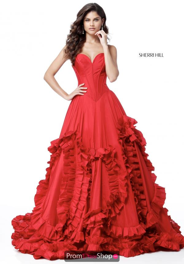 Sherri Hill Strapless A Line Dress 51578
