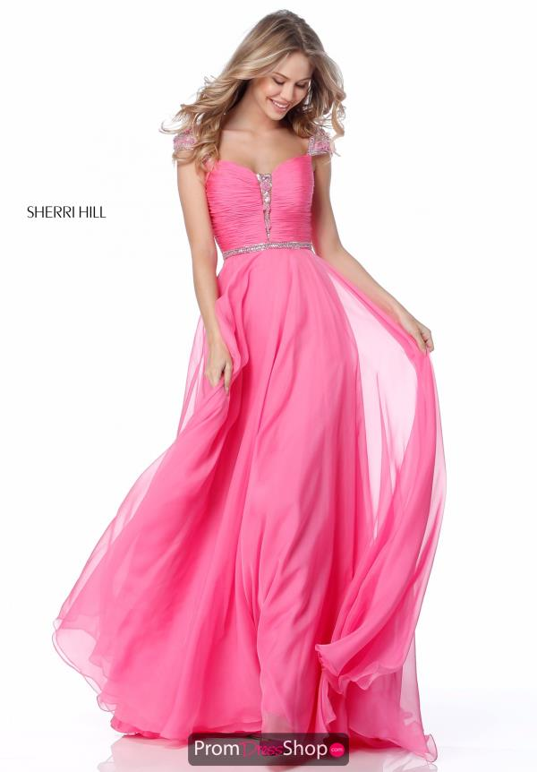 Sherri Hill Cap Sleeve A Line Dress 51744