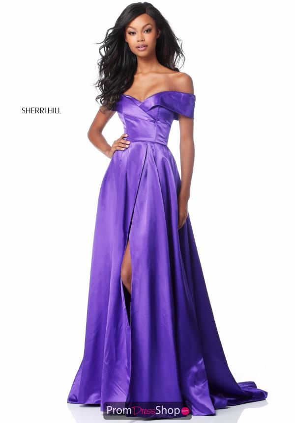 Sherri Hill Cap Sleeve Satin Dress 51892