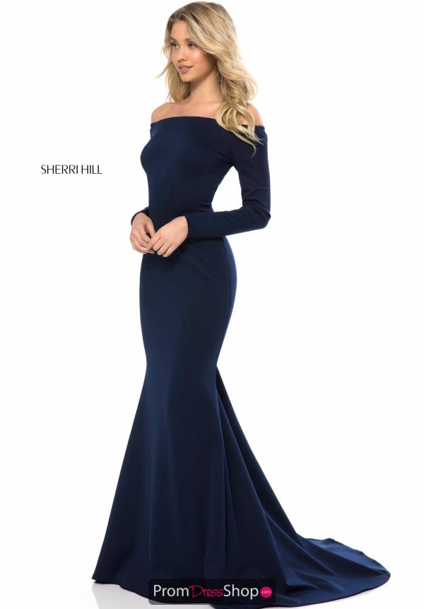Sherri Hill Off the Shoulder Neoprene Dress 52041
