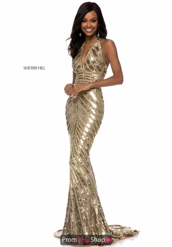 Sherri Hill Halter Beaded Dress 52073