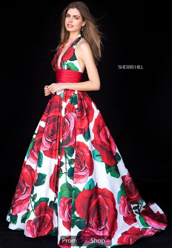 Sherri Hill A Line Halter Dress 52084