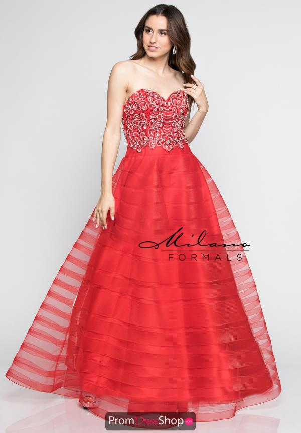 Milano Formals Red A Line Dress E2395
