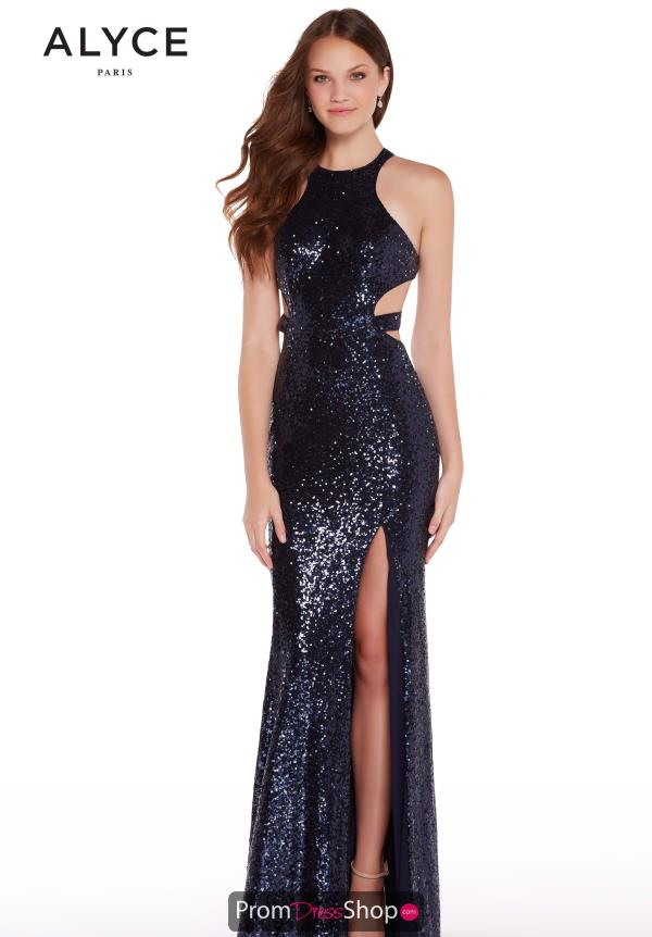 Alyce Paris Beaded Halter Dress 60037