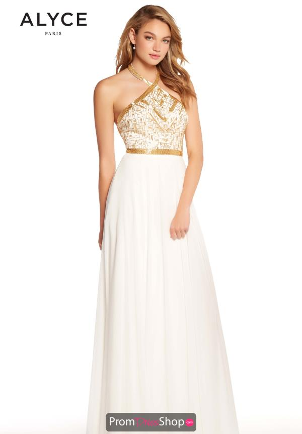 Alyce Paris Beaded Halter Dress 60043