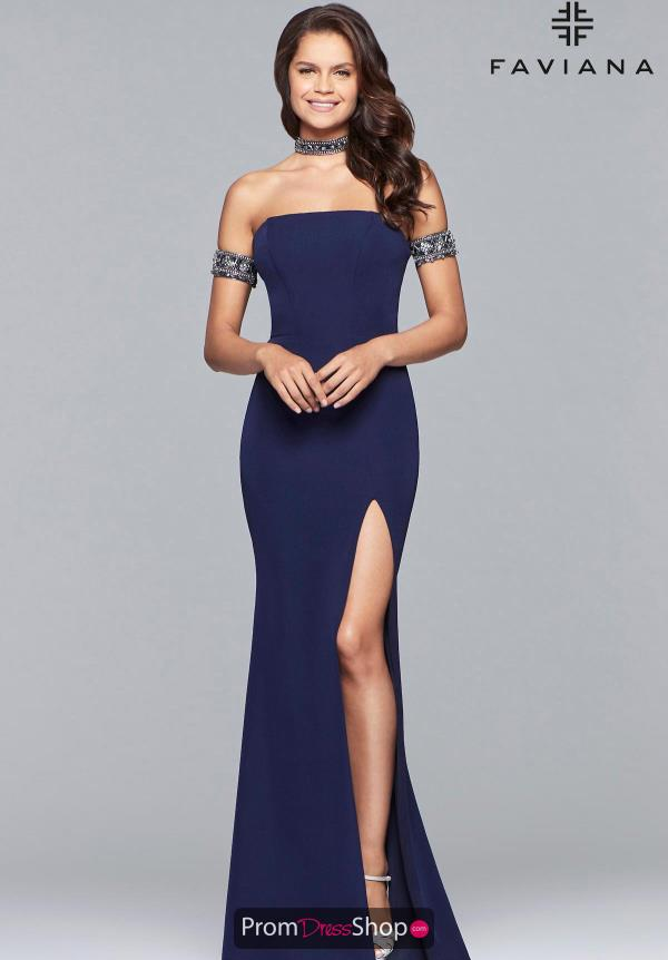 Faviana Off the Shoulder Beaded Dress 10037