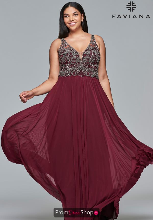 Faviana Beaded A Line Dress 9424