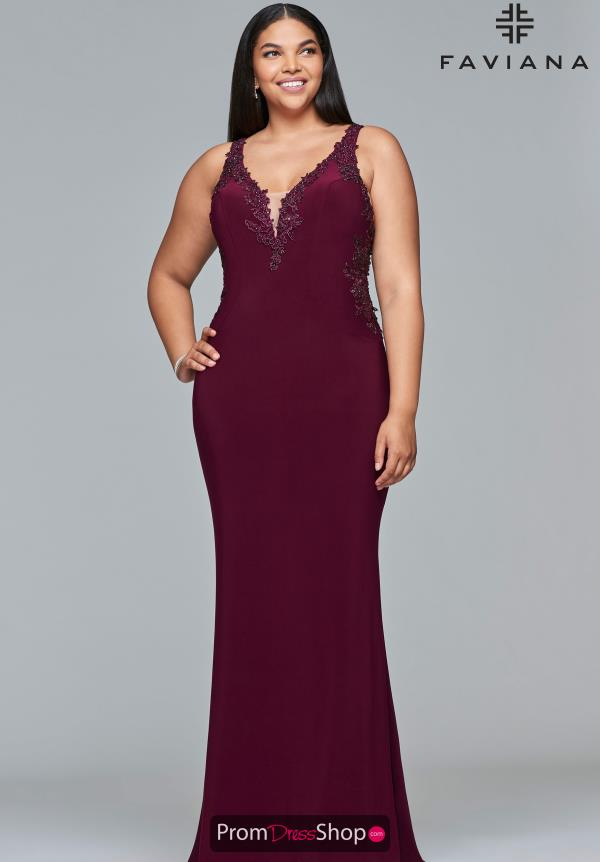 Faviana V-Neck Fitted Dress 9432