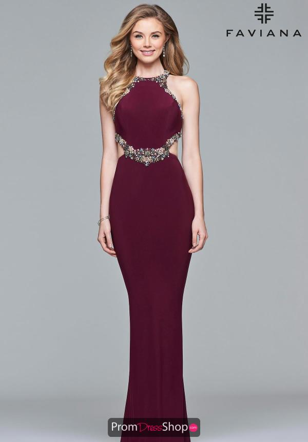 Faviana Hight Neckline Fitted Dress S10026