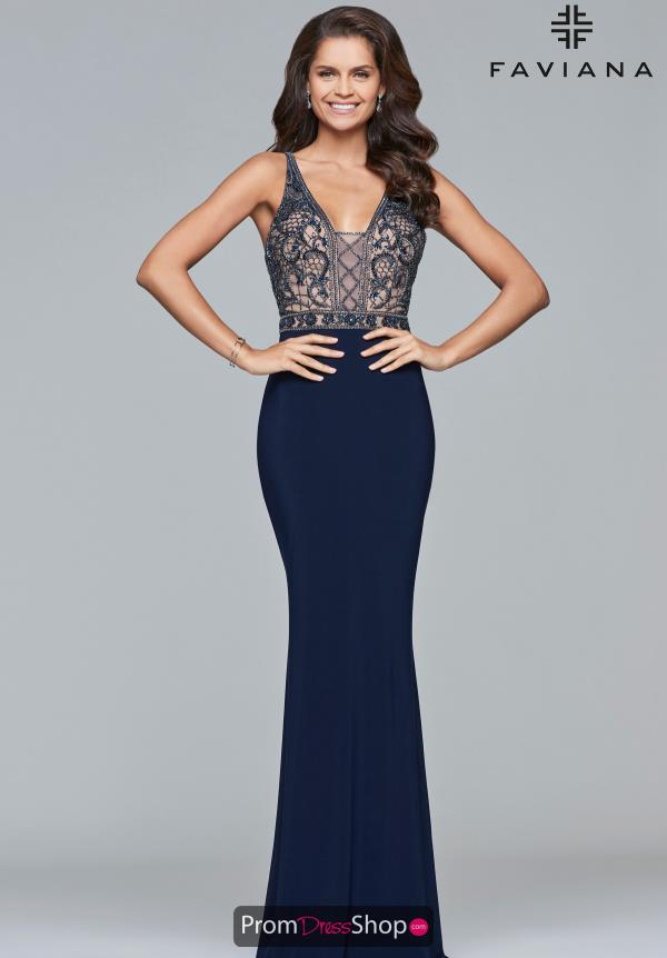 Faviana Open Back Fitted Dress S10092