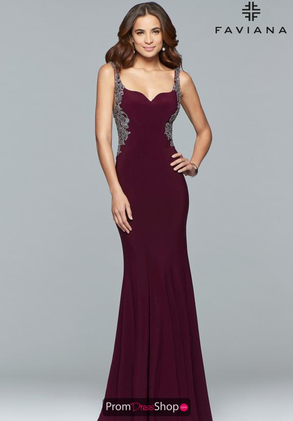 Faviana Beaded Applique Dress S10096