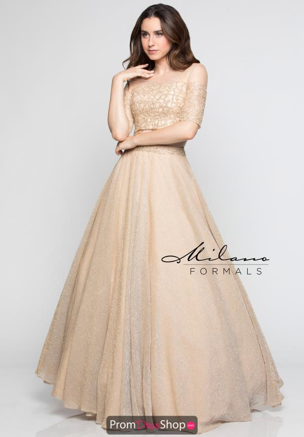 Milano Formals Long Gold Dress E2357