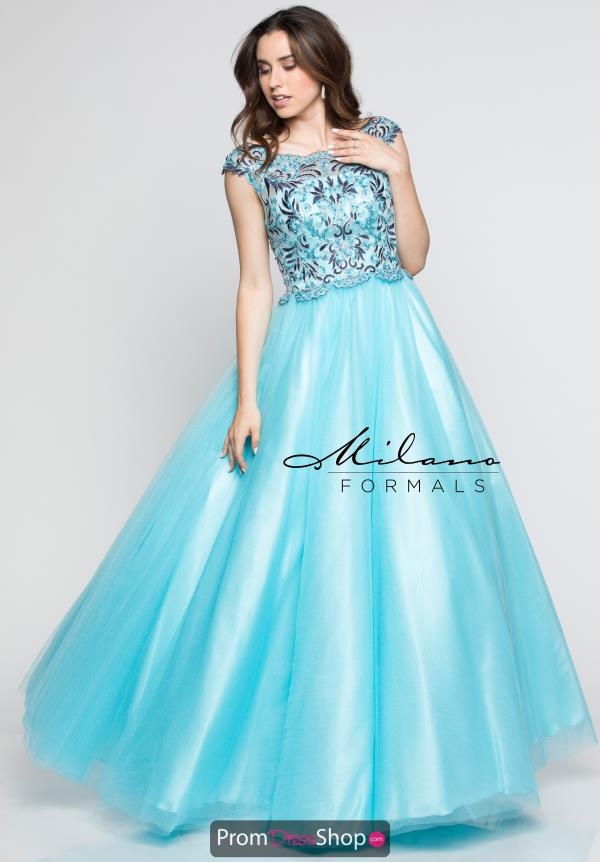 Milano Formals Long Blue Dress E2318