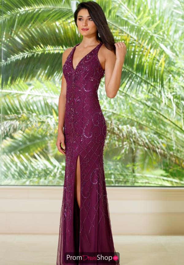 Sean V- Neckline Beaded Dress 51076