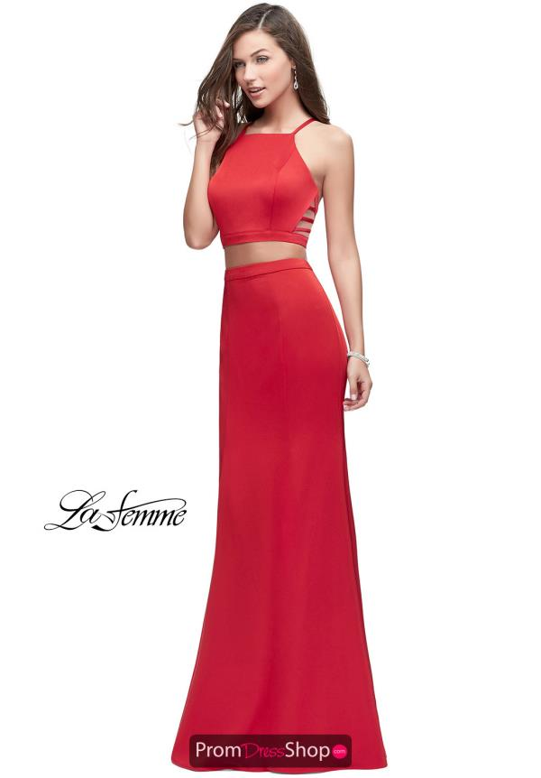 La Femme Long Fitted Dress 25220