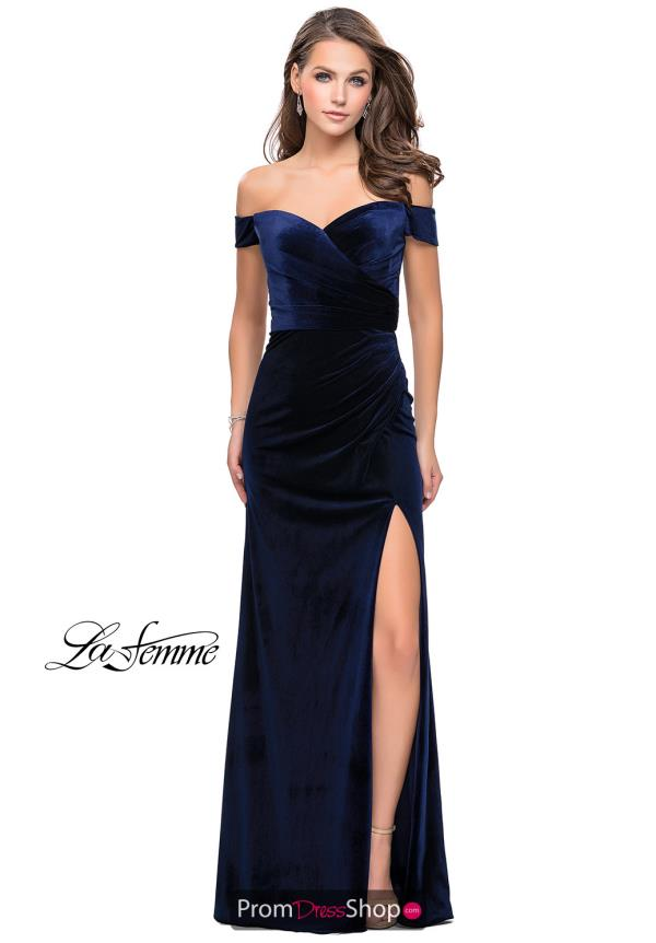 La Femme Off the Shoulder Fitted Dress 25213