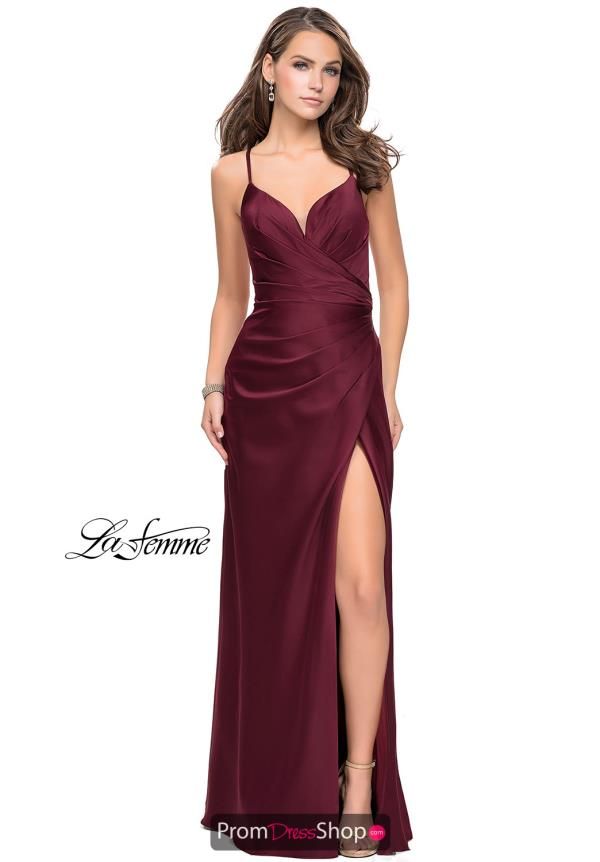 La Femme Sexy Back Satin Dress 25270
