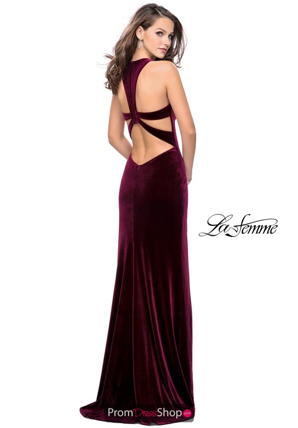 La Femme Velvet Sexy Back Dress 25363