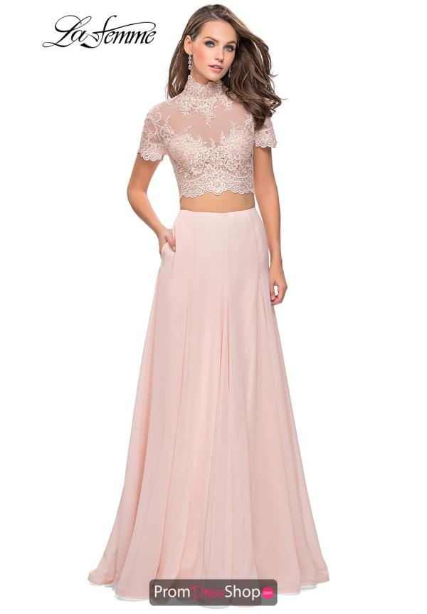 La Femme Two Piece Chiffon Dress 25401