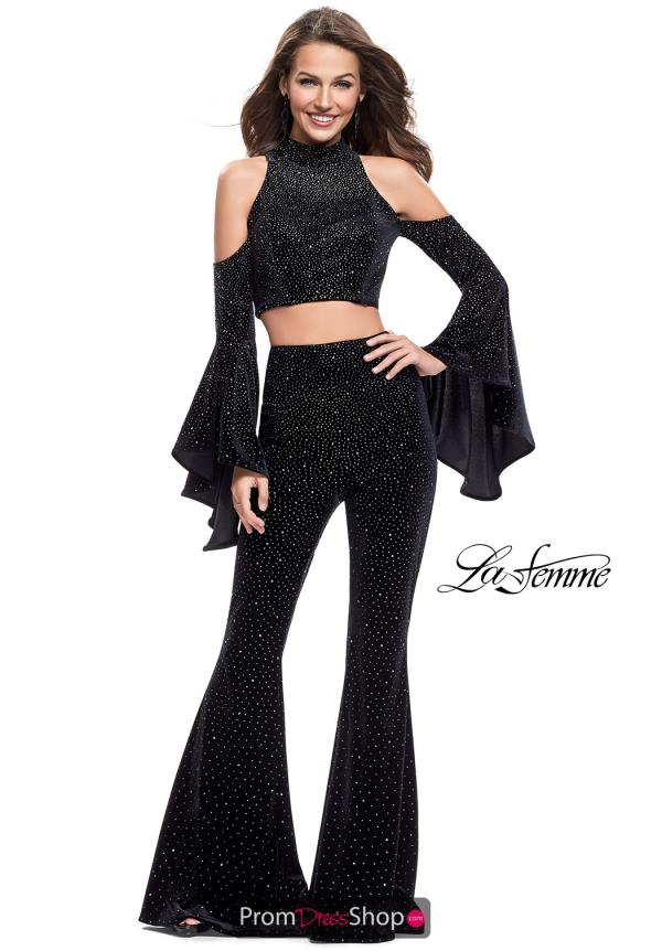 La Femme Velvet Two Piece Dress 25410